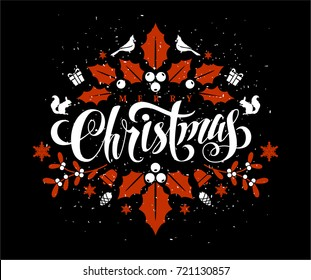 Christmas Postcard with Calligraphic Lettering Design decorated with Christmas Elements.