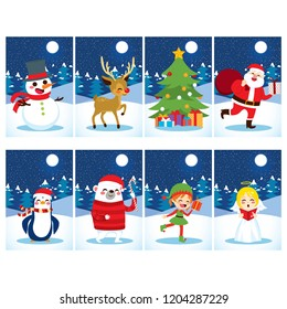Christmas postcard collection with different cute characters and snow winter background