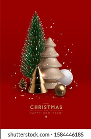 Christmas postcard with composition made of glass, wooden and plastic Christmas trees, glass ornaments and festive elements. Vector Illustration.