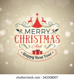 Christmas Postcard Decoration with Vintage Typographic Badge. Merry Christmas and Happy New Year. Vector Illustration