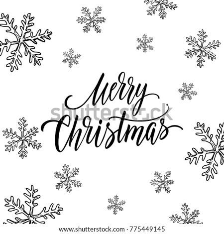 Christmas Postcard Design Hand Drawn Snowflakes Stock Vector