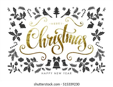 """Christmas Postcard with  Christmas Elements and Handwritten Gold Foil Calligraphic """"Merry Christmas"""" Inscription"""