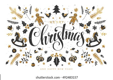 Christmas Postcard with  Hand Lettering, Handmade Calligraphy Inscription and all kind of Christmas Attributes