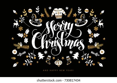 Christmas Postcard with Hand Lettering. Handmade Calligraphy Inscription and all kind of Christmas Attributes