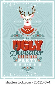 Christmas postcard with invitation on ugly sweater holiday party