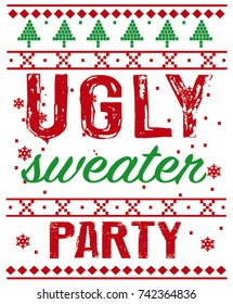 Christmas postcard with invitation on ugly sweater party