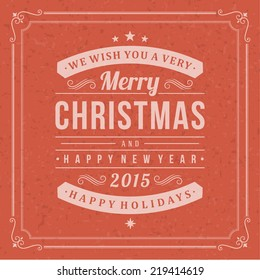 Christmas postcard ornament decoration background. Vector illustration Eps 10. Happy new year message, Happy holidays wish.