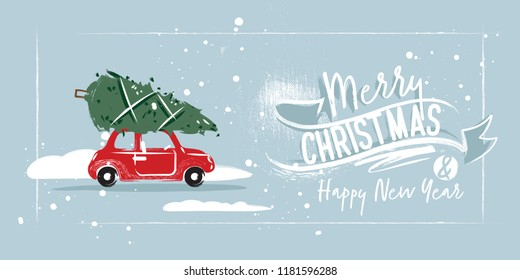 Christmas postcard. A red car is driving a Christmas tree for Christmas. Lettering and ribbons. Blue background
