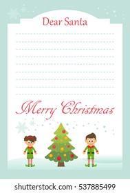 christmas postcard to santa with cartoon elfs