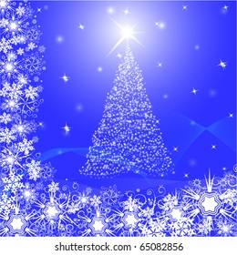 christmas postcard with snowflake fir tree and star. background