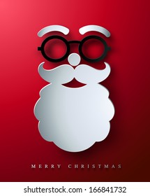 Christmas postcard. Stylized abstract paper cutout Santa's face.
