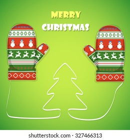 Christmas postcard vector illustration. Merry Christmas greetings  with 2 mittens and lace like a Christmas tree between them.