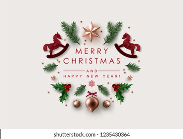Christmas Postcard with  Christmas wishes decorated with Festive Elements.