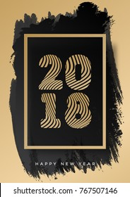 Christmas poster 2018 gold style happy new year on watercolor background for decoration, flyer, web, promotion, christmas sale, invitation, calendar, card, banner. Vector Illustration