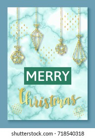 Christmas poster or background, party invitation template with golden glitter, marble and metal foil texture, lettering, winter holidays celebration banner, trendy vector illustration