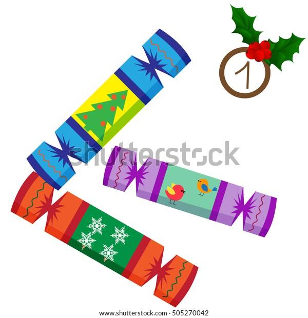 Christmas poster. Colorful Christmas Advent Calendar, Countdown to Christmas , one day