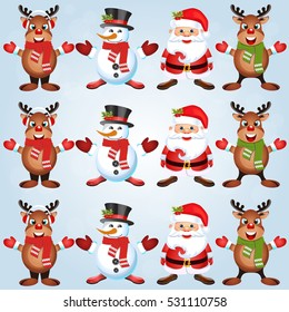 Christmas poster design with snowman characters.Santa Claus.Happy Christmas companions.Vector Christmas.Seamless holiday background .