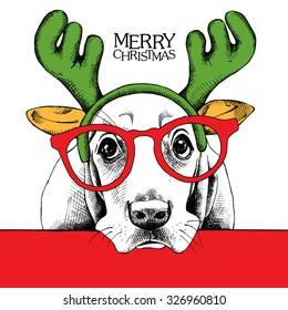 Christmas poster of a dog Basset Hound portrait in mask Santa's antler reindeer and glasses. Vector illustration.