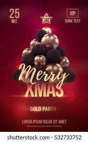 Christmas poster or flyer template with golden christmas tree. Vector illustration