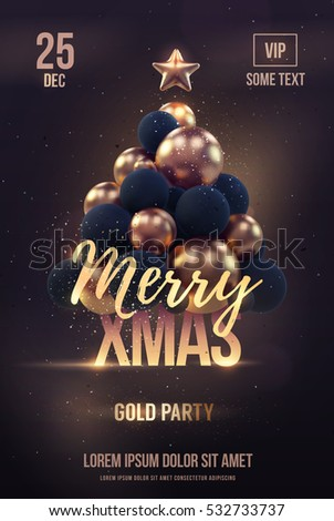 christmas poster flyer template golden christmas stock vector