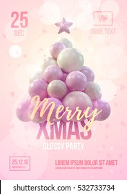 Christmas poster or flyer template with pink christmas tree made in gentle colors. Vector illustration
