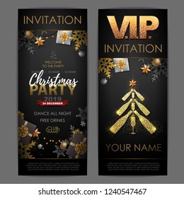 Christmas poster with golden champagne bottles. Invitation desig