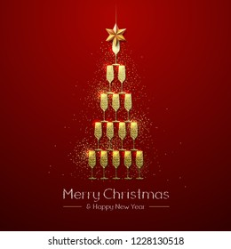 Christmas poster with golden champagne glass. Golden Christmas tree on red background