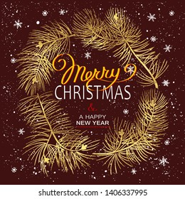 Christmas Poster - Illustration. Vector illustration of Christmas Background with golden branches of christmas tree and white snowflakes.