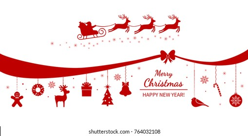 Christmas poster or packing. Santa Claus on a sleigh with deer on the background of hanging Christmas decorations and garlands. flat vector illustration isolated on white background