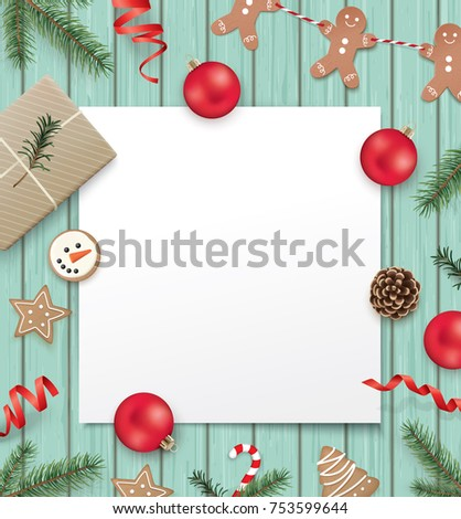 Christmas Poster Template Gift Box Ribbon Stock Vector (Royalty Free ...