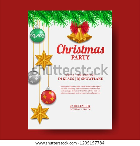 christmas poster template illustration bell ball stock vector