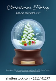Christmas poster. Transparent crystallizing magic snowglobe christmas party invitation vector placard template