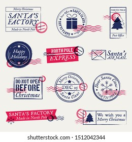 Christmas postmarks, stamps set. Santa Claus mail, letter. Holiday decorations for cards, labels. Winter xmas post stamp.