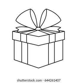 christmas present box gift ribbon decoration outline