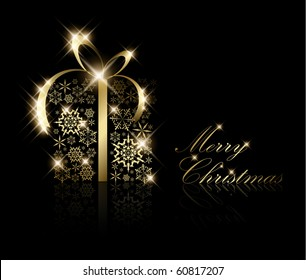 Christmas present box made from golden snowflakes on black (vector)