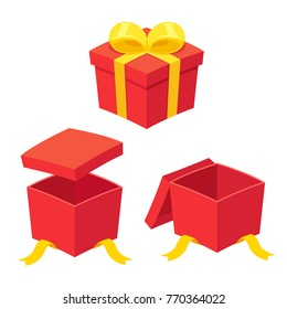 Christmas present boxes set, opening and opened. Red gift box with yellow ribbon bow. Isolated vector illustration
