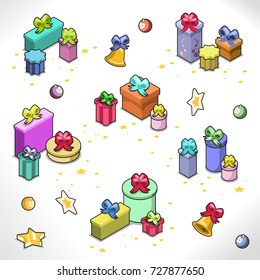 Christmas present and gift box collection in piles of numerous shapes and sizes with colorful bows and decoration (isometric items)