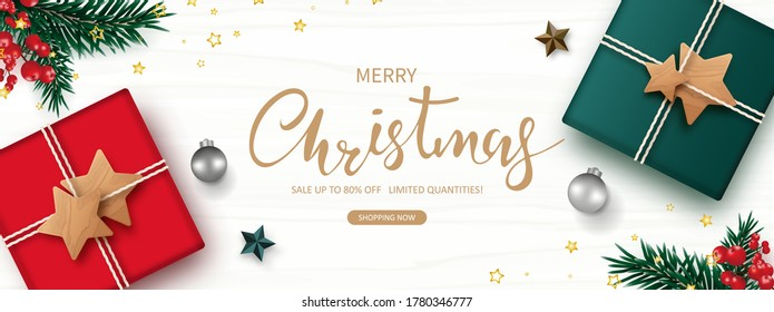 Christmas present, Sale season. Xmas banner decorative border ornament with Gift box, Christmas ball, red berry, green pine, star, isolated on white wooden background. Flat lay. Vector illustration.