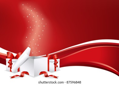 Christmas presents with red background