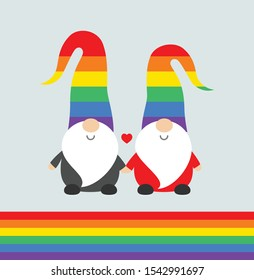 Christmas Pride celebration party funny greeting card with cute Santa elves gnomes in rainbow hats, and rainbow flag. Vector Christmas Pride illustration