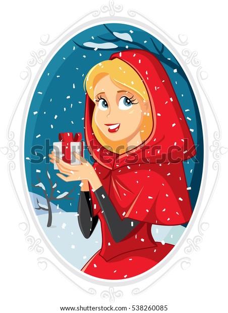 Christmas Princess.Christmas Princess Gift Box Winter Outside Stock Vector