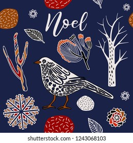 Christmas print, bird in winter forest.