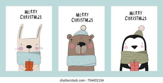 Christmas print with cute hand drawn animals.  Penguin, bear and bunny