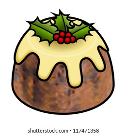 A christmas pudding with custard, holly and holly berries.