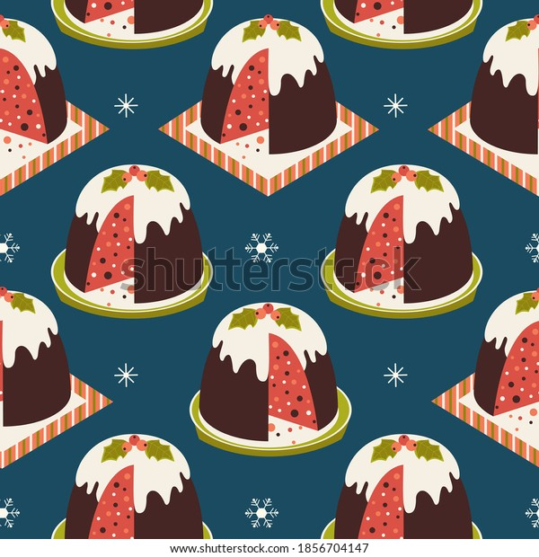 Christmas Pudding Decorative vector seamless pattern. Winter season holiday cartoon. Traditional plum pudding, brandy butter holly sprig ornament background. Christmas decoration template illustration