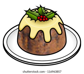 A christmas pudding on a platter with custard, holly and holly berries.