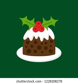 Christmas pudding vector illustration icon. Seasonal, festive, traditional holiday dessert on plate with cream on top and mistletoe decoration. Isolated on green background.
