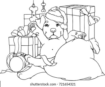 Printable Puppy Coloring Pages For Kids #1694 Christmas Dog ... | 280x339