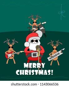 Christmas Quartet. Santa and Christmas reindeer congratulate on the holiday. Vector 2D illustration