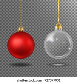 Christmas realistic red  and transparent ball  isolated.